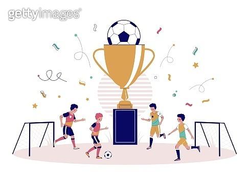Children football championship vector flat style design illustration