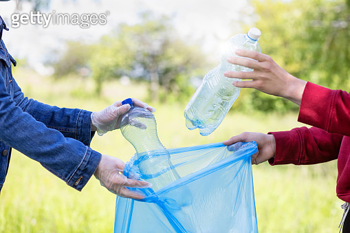 Concept of protecting nature from garbage and plastic waste.