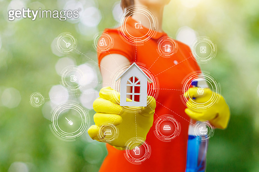 The concept of rendering services house cleaning.