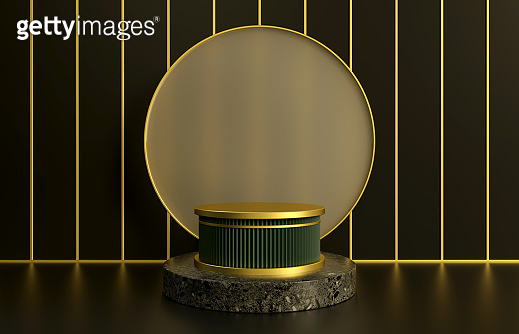 Beautiful green pedestal with granite podium on black background. Luxury presentation of product concept. 3d render illustration
