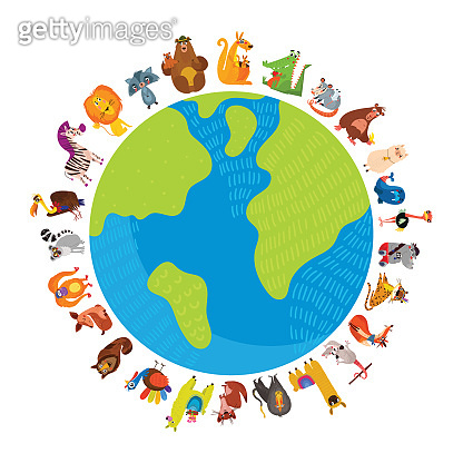 World animal day. Cartoon Earth postcard with cute wildlife animals. Use for kids and preschool education.