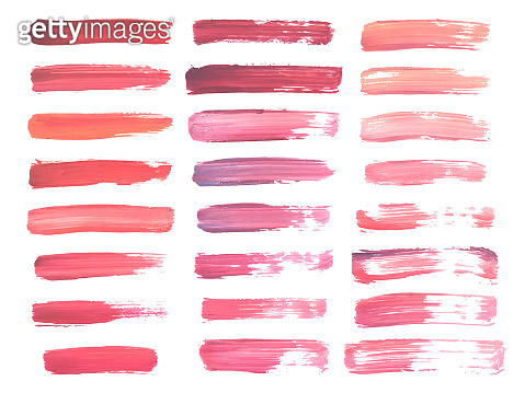 Abstract watercolor red and pink brush strokes isolated on white, creative illustration,fashion background. Vector