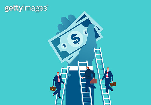 Businessman climbs the ladder to pick up money held in the hands of giants, business concept illustration