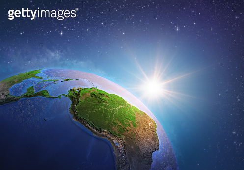 Sun shining over Amazonia from space