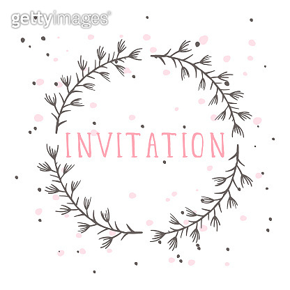 Vector hand drawn illustration of text INVITATION and floral round frame.