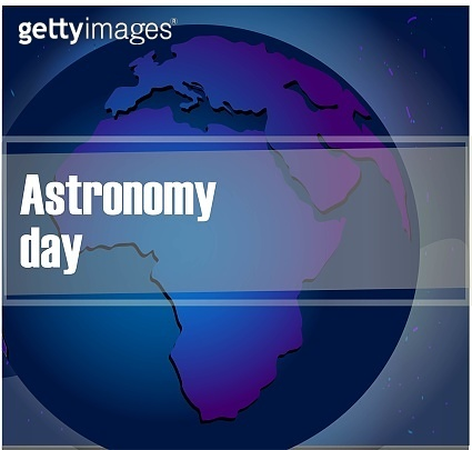 Asronomy Day. Planet in the night sky. Dark background with stars. Cosmos..