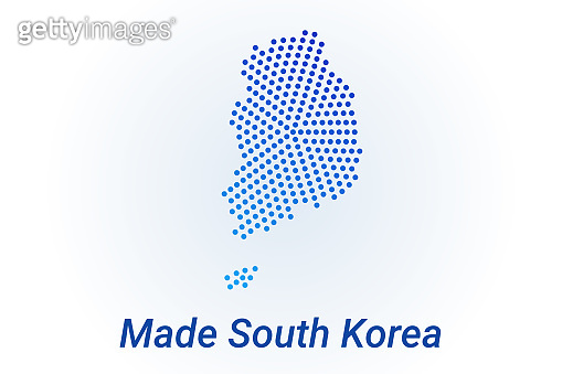 Map icon of South Korea. Vector logo illustration with text Made in South Korea. Blue halftone dots background. Round pixels. Modern digital graphic design