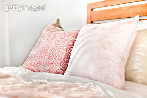Pillows on the bed focused and detailed view