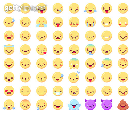 Flat emoticon emoji. Happy smiling yellow faces, angry and sad, joy and cry, facial expressions. Ghost, devil and shit vector icons set