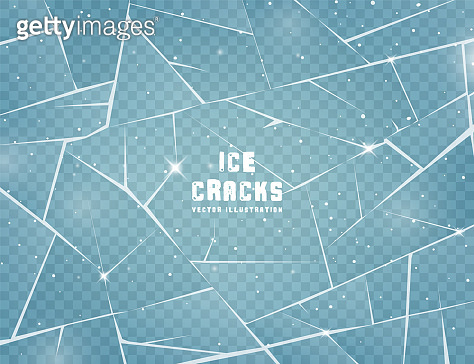 Realistic cracked ice surface. Frozen glass with cracks and scratches. Vector illustration