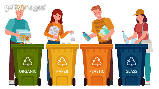 People sorting garbage. Men and women separate waste and throwing trash into recycling bins. Ecology lifestyle vector illustration