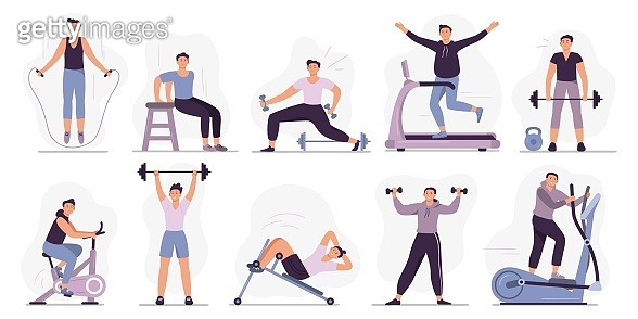 Man at sport gym. Vector illustration set