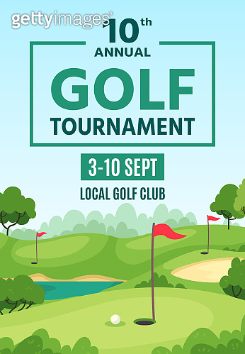 Golf poster. Green course, holes with flagsticks and sand traps, championship or tournament flyer, golf club event banner vector template.