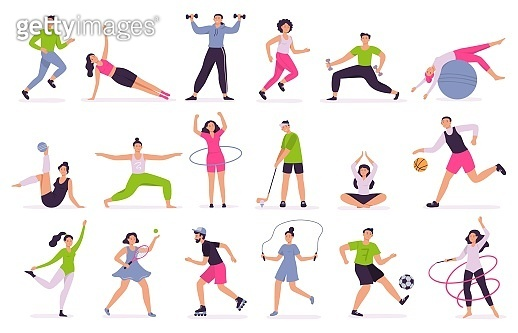 People performing sports activities. Vector illustration set
