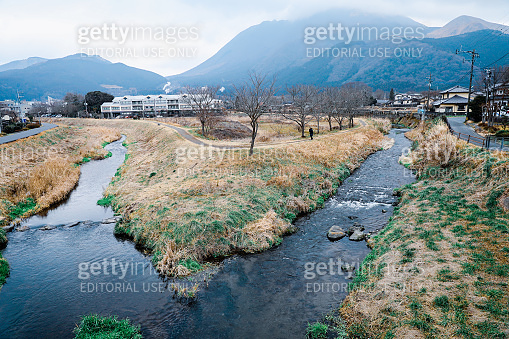River and footpath in Yufuin, the famous vacation destination in Kyushu, Japan, outdoor, daytime