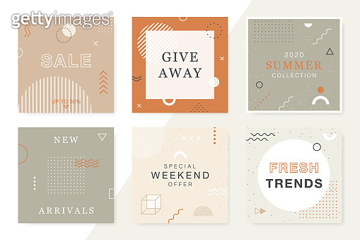 Trendy Sale and Discount backgrounds in geometric style. Modern promotion square web banners for social media and mobile apps. Vector layouts collection.