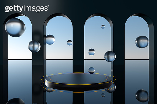 Round podium with creative geometric decoration, 3d rendering.