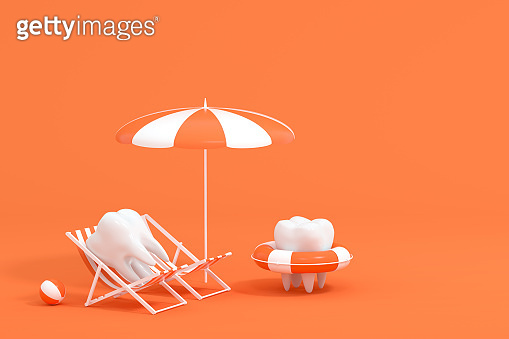 Cartoon tooth on holiday, tooth care concept, 3d rendering.