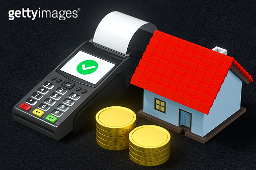 POS and house model, concept of purchase a house, 3d rendering.