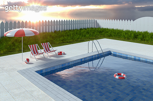 A swimming pool on a sunny day, 3d rendering.