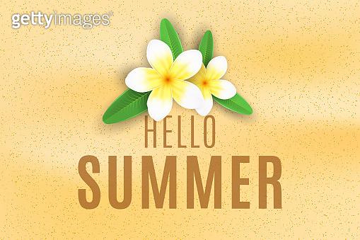 Summer background. Plumeria flowers on the sand beach. Seasonal cover for your design. Vector illustration. EPS 10