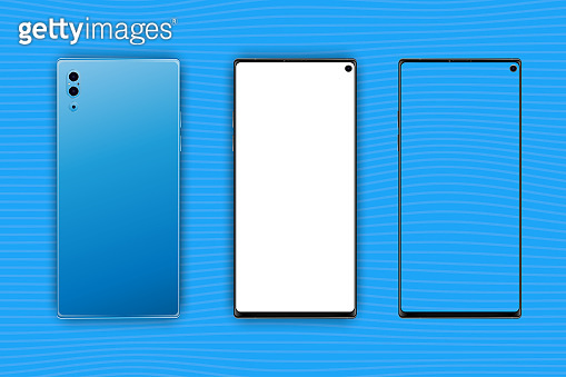 Set Mock-up of realistic Smartphones. Two modern telephones. Front side with white and transparent screen and back side with cameras isolated on background with shadow. Flat vector illustration EPS 10