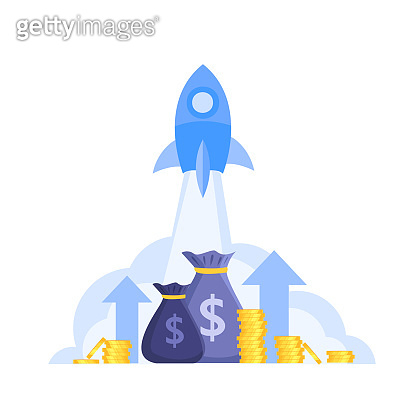 Income or revenue growth finance vector concept with launching rocket, money bags, coins,arrows.