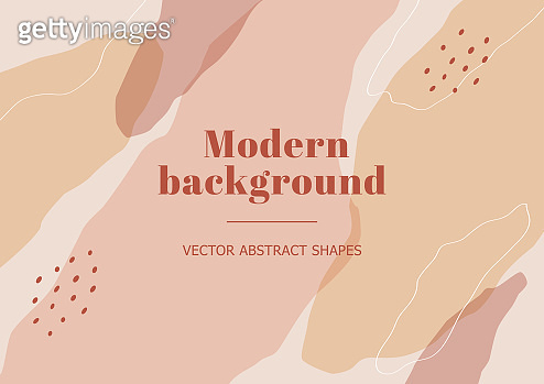 Stylish beauty banner with organic abstract shapes, line in nude pastel colors.