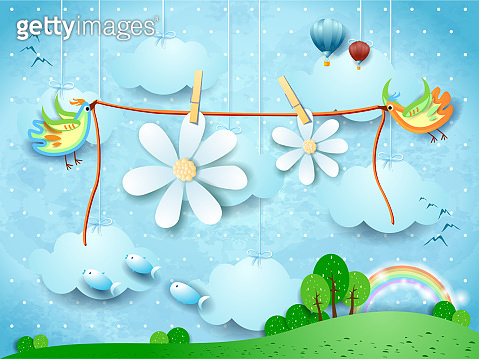 Surreal landscape with flying birds and hanging flowers