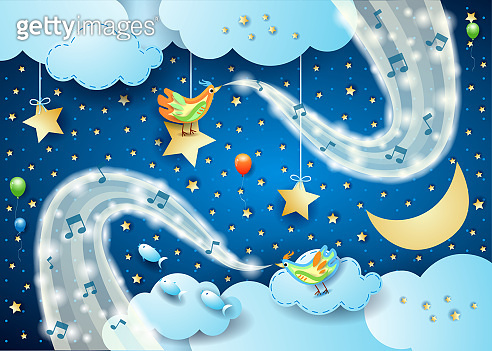 Surreal sky by night with birds, musical notes and waves of sparkles
