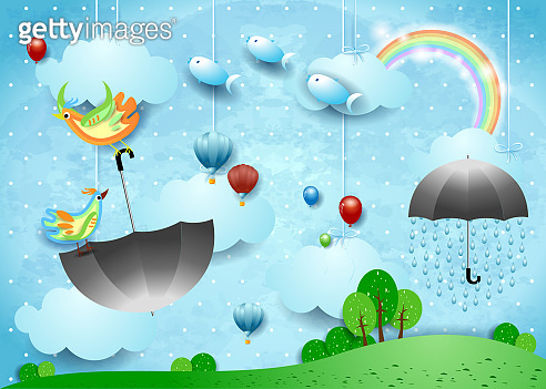Fantasy landscape with rain, flying umbrella and fishes