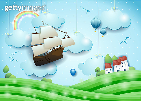 Fantastic landscape with flying vessel, meadows and village