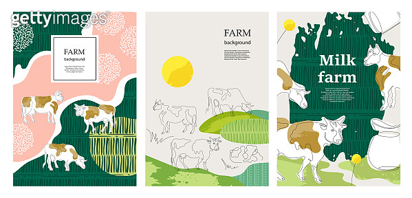 Agricultural background. Cows in the pasture. Minimalistic graphics.