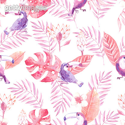 Watercolor seamless pattern with tropic birds toucans and jungle plants and flowers.