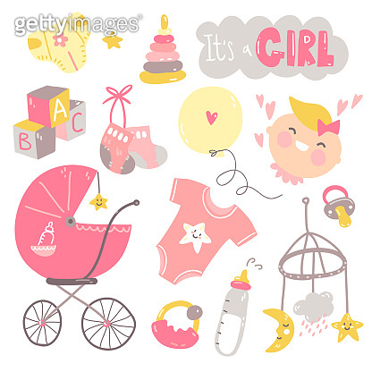 It's a girl doodle set. Pink and yellow baby care, feeding, clothing, toys, health care stuff, accessories.