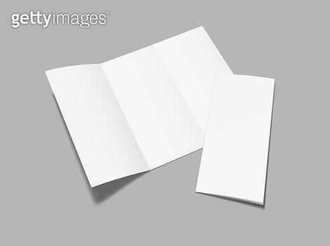 Realistic Flyer, booklet  mock up on gray background.  Blank  flyer tri fold mockup. Vector illustration.