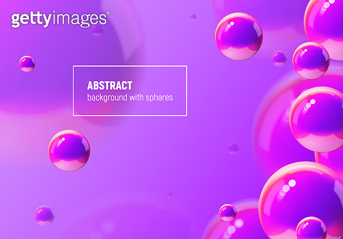 Abstract vector background with purple balls flying in perspective for science and business wallpaper