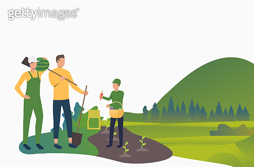 Healthy family planting in garden. Holiday, children, parents, summer. Happy family concept. Vector illustration for website, landing page, online store