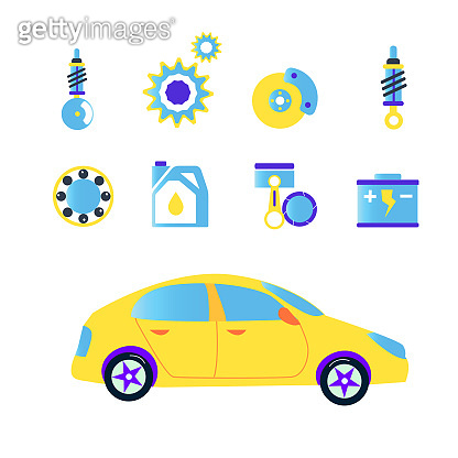 Car repair set icons in flat funny style. Vector illustration