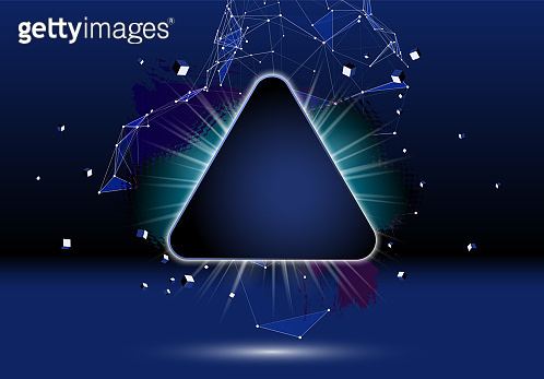 Abstract dark background with brush stroke, blot, triangular grid and frame