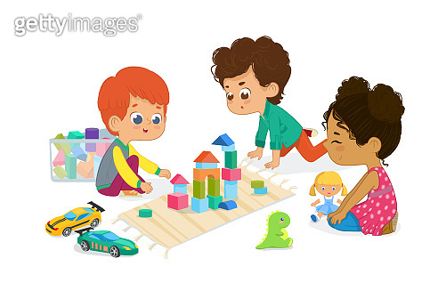 Children sit in circle and play with toys in the kindergarten classroom, play with wooden toy blocks, cars, doll and laugh. Learning through entertainment concept. Vector illustration for flyer, website, poster, banner