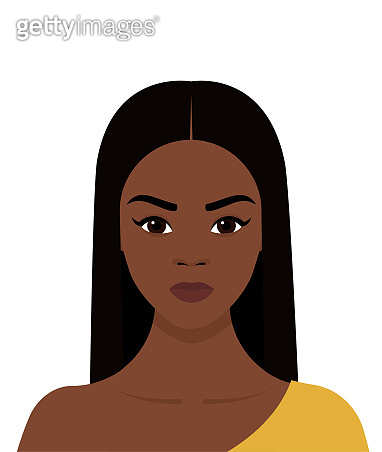 Portrait of a young African girl with black hair. Vector flat illustration on a transparent background
