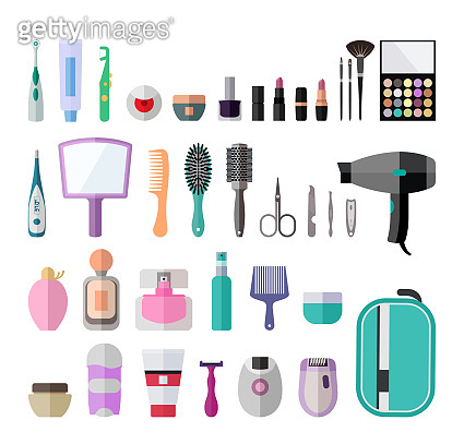 Flat icon set for personal hygiene items for women.