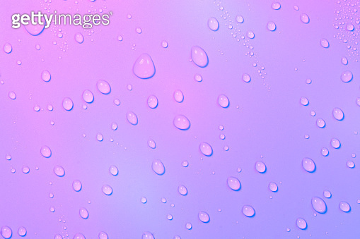 Close up of water drops on rose pink tone background. Abstract pink wet texture with bubbles on plastic PVC surface or grunge. Realistic pure water droplets condensed. Detail of canvas leather texture.