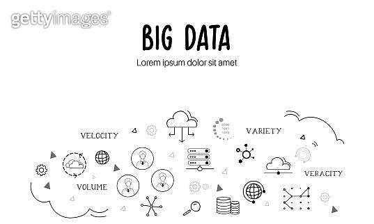 Big Data elements doodle banner.
