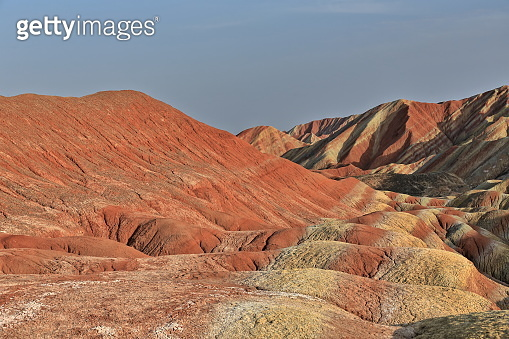 Seven-Color-Mountain landform from Colorful-Clouds Observation Deck. Zhangye Danxia-Qicai Scenic Spot-Gansu-China-0894