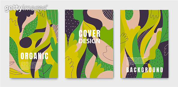 Set of absract posters, organic green covers with liquid shapes, leaves and geometric elements. Use for prints, flyers, banners, design. Eco concepts.