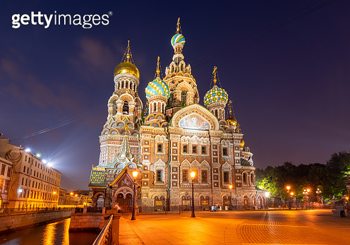 Church of  Savior on Spilled Blood at night, Saint Petersburg, Russia