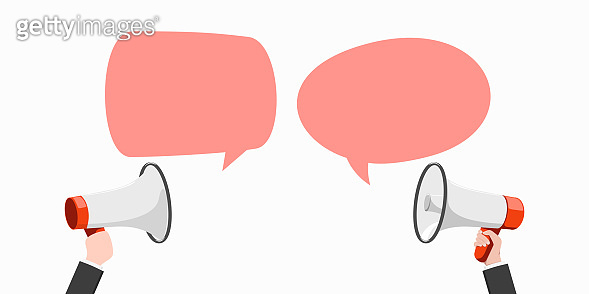 Megaphones or loudspeakers with speech bubble. Vector illustration