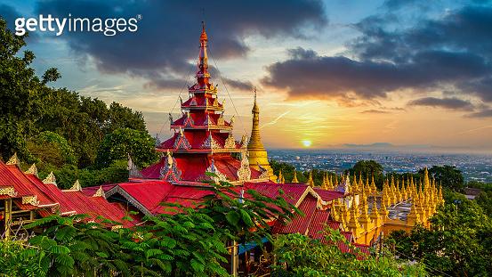 Mandalay Hill major pilgrimage site ancient  building landmark old architecture in Southeast Asian Myanmar, Mandalay, Asia.
